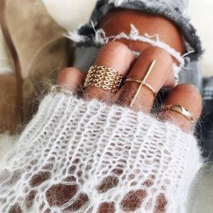 Jewelry - Gold chain midi rings set 7 rings